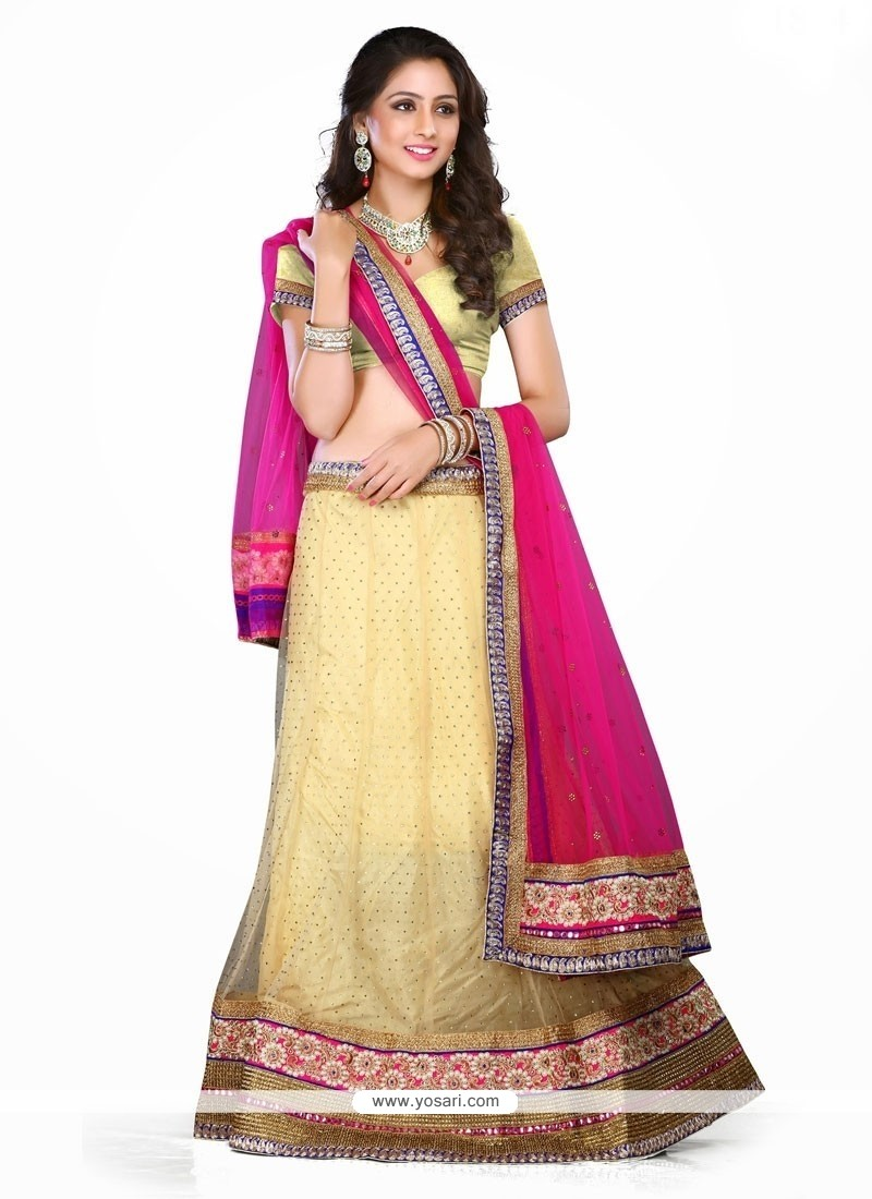 Thrilling Hot Pink Patch Border Work A Line Lehenga Choli