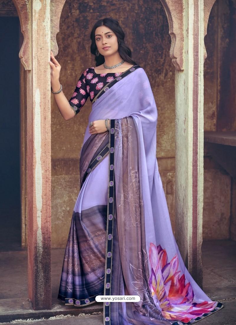 Aqua Grey Designer Party Wear Floral Chiffon Sari