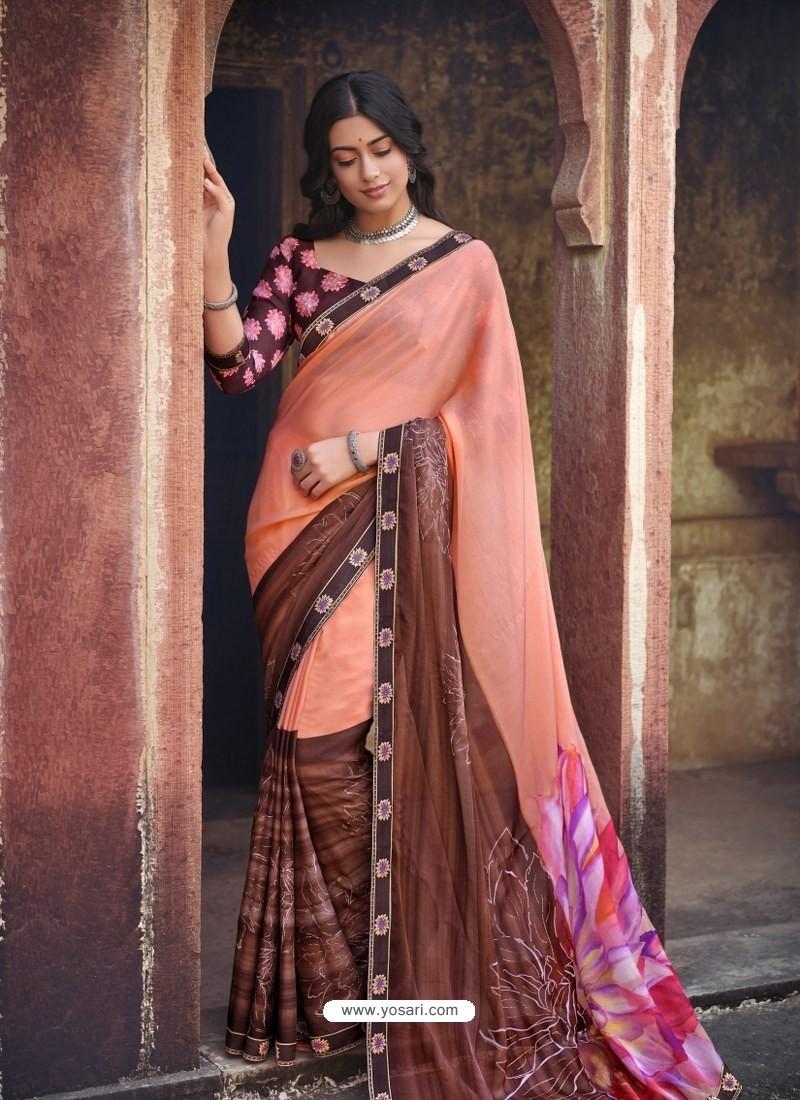Light Orange Designer Party Wear Floral Chiffon Sari
