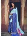 Sky Blue Designer Party Wear Floral Chiffon Sari