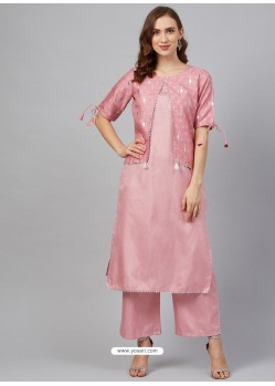 Pink Designer Readymade Party Wear Kurti With Palazzo