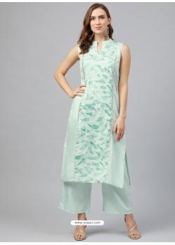 Sea Green Designer Readymade Party Wear Kurti With Palazzo