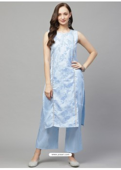 Aqua Grey Designer Readymade Party Wear Kurti With Palazzo