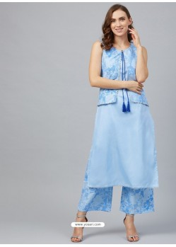 Blue Designer Readymade Party Wear Kurti With Palazzo