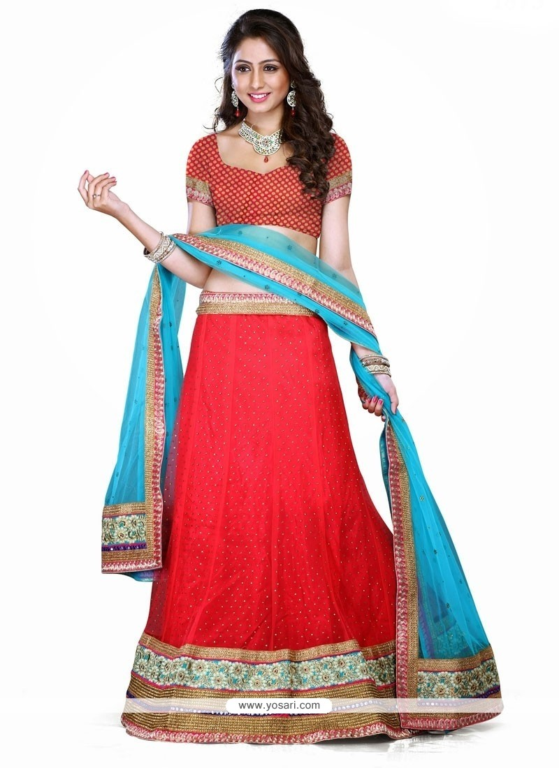 Fantastic Net Red A Line Lehenga Choli