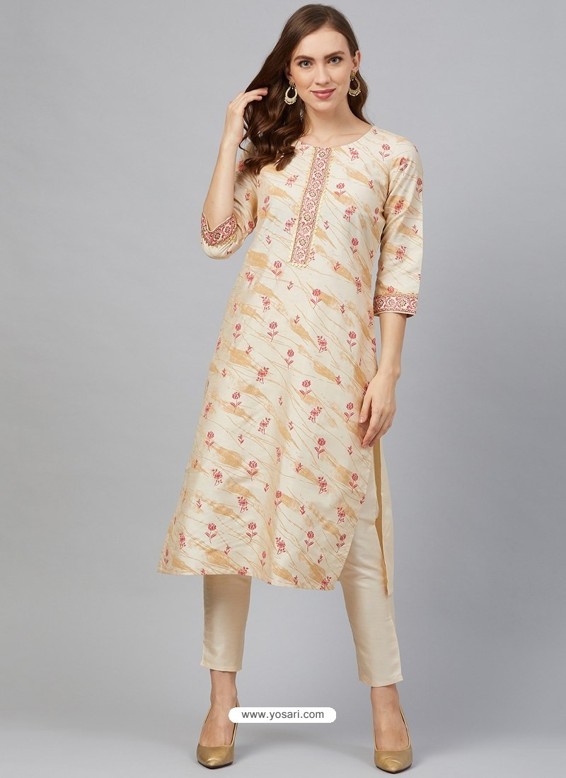 Light Beige Designer Readymade Party Wear Kurti With Palazzo