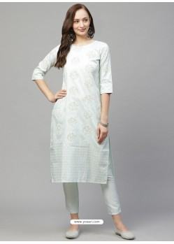 Pista Green Designer Readymade Party Wear Kurti With Palazzo