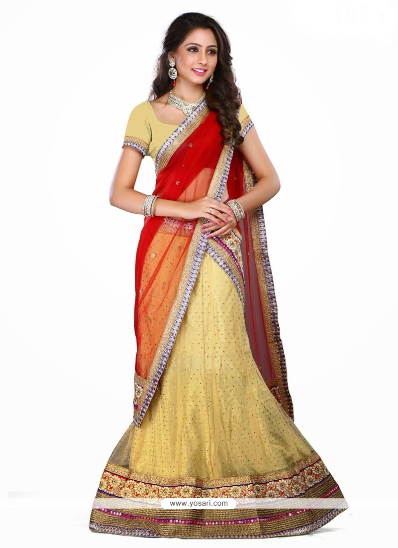 Unique Red Embroidered Work A Line Lehenga Choli