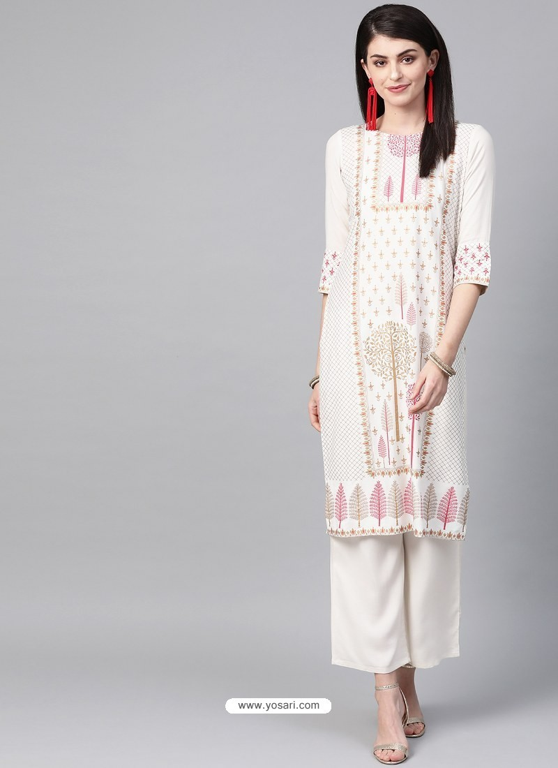 Off White Designer Readymade Party Wear Kurti With Palazzo