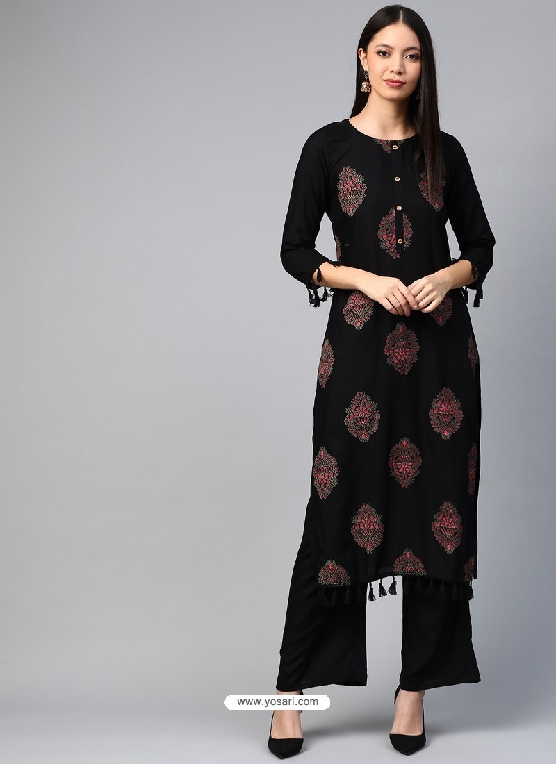 Black Designer Readymade Party Wear Kurti With Palazzo