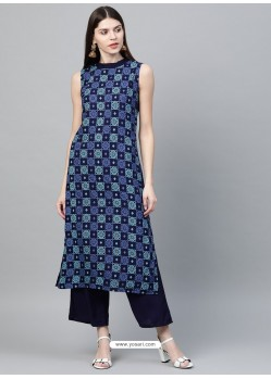 Dark Blue Designer Readymade Party Wear Kurti With Palazzo