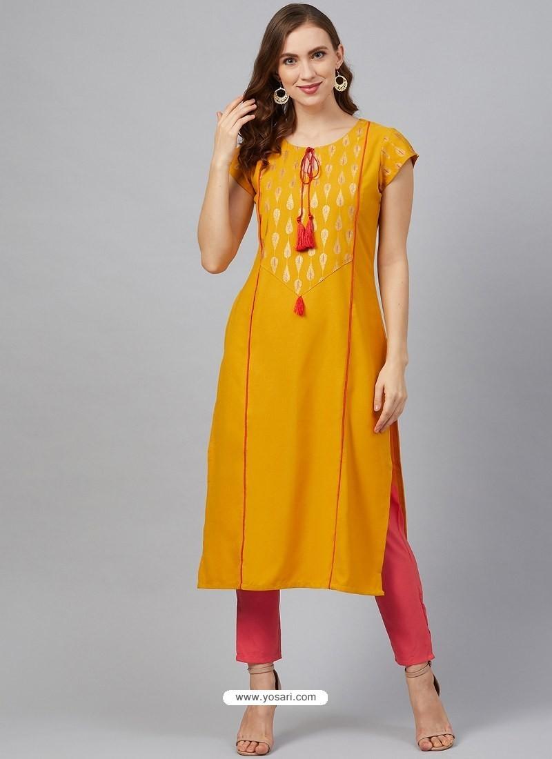 Mustard Designer Readymade Party Wear Kurti With Palazzo