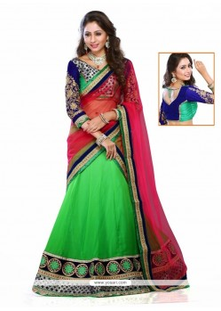 Magnetize Green Embroidered Work Georgette A Line Lehenga Choli