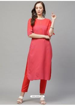 Peach Designer Readymade Party Wear Kurti With Palazzo