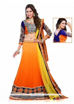 Voluptuous Georgette Orange A Line Lehenga Choli