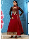 Baronial Maroon Faux Georgette Anarkali Suits