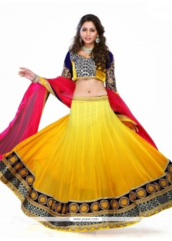 Attractive Georgette Yellow Patch Border Work A Line Lehenga Choli