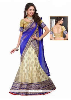 Ruritanian Patch Border Work Blue A Line Lehenga Choli