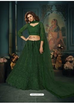 Dark Green Heavy Embroidered Designer Net Wedding Lehenga Choli