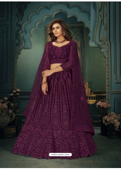 Purple Heavy Embroidered Designer Net Wedding Lehenga Choli