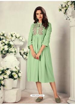 Sea Green Designer Readymade Party Wear Rayon Kurti