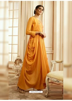 Yellow Designer Readymade Party Wear Rayon Floor Length Kurti