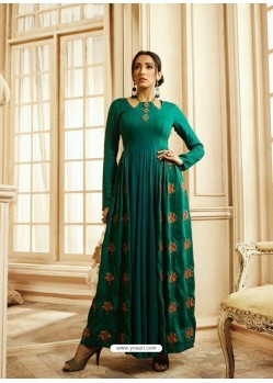 Teal Designer Readymade Party Wear Rayon Floor Length Kurti