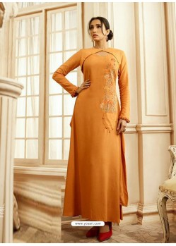 Orange Designer Readymade Party Wear Rayon Floor Length Kurti