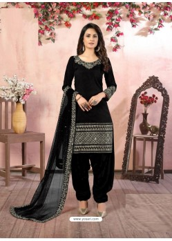 Black Heavy Designer Party Wear Art Silk Punjabi Patiala Suit