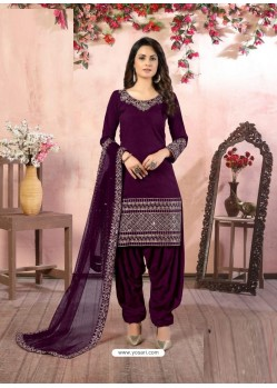 Purple Heavy Designer Party Wear Art Silk Punjabi Patiala Suit