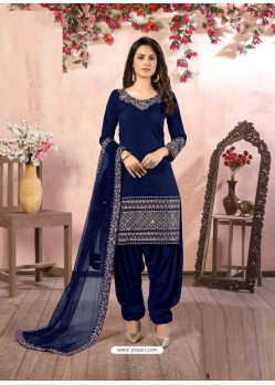 Dark Blue Heavy Designer Party Wear Art Silk Punjabi Patiala Suit