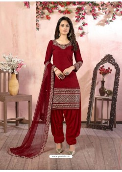 Maroon Heavy Designer Party Wear Art Silk Punjabi Patiala Suit