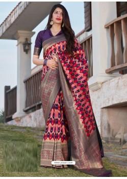 Multi Colour Designer Party Wear Banarasi Silk Sari