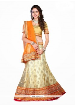 Gorgonize Net Patch Border Work A Line Lehenga Choli