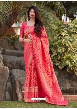 Peach Designer Party Wear Banarasi Silk Sari