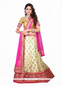 Intriguing Net Cream And Hot Pink Resham Work A Line Lehenga Choli
