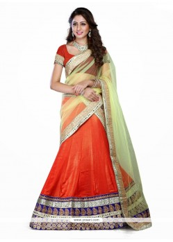 Monumental Orange Zari Work Shimmer Georgette A Line Lehenga Choli