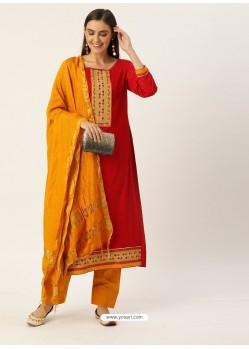 Red Latest Heavy Designer Party Wear Straight Salwar Suit
