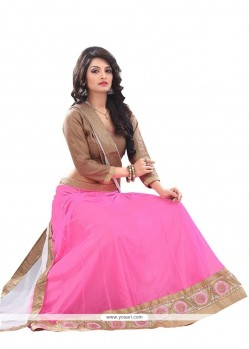 Magnetic Net Pink Patch Border Work A Line Lehenga Choli