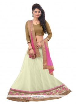 Aristocratic Net Off White A Line Lehenga Choli