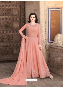 Peach Latest Soft Georgette Designer Wedding Anarkali Suit