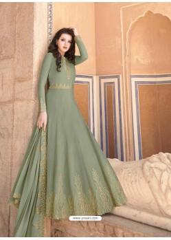 Olive Green Latest Soft Georgette Designer Wedding Anarkali Suit