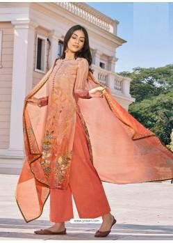 Rust Designer Cotton Silk Palazzo Salwar Suit