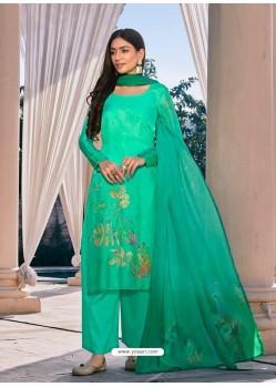 Jade Green Designer Cotton Silk Palazzo Salwar Suit