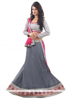 Grey Patch Border Work A Line Lehenga Choli