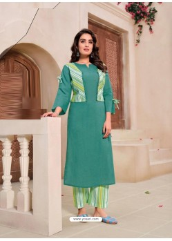 Teal Designer Readymade Party Wear Kurti With Palazzo
