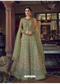 Olive Green Stunning Indo Western Designer Wedding Anarkali Suit