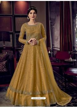 Mustard Stunning Indo Western Designer Wedding Anarkali Suit