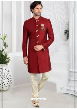 Maroon Readymade Designer Indo Western Sherwani
