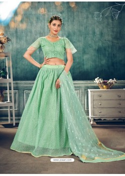 Sea Green Designer Bridal Wear Soft Net Lehenga Choli